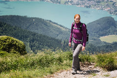 Woman Hiking in Austria - Schafberg Royalty Free Stock Images