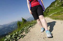 Woman is hiking in the austrian Tirol Royalty Free Stock Image