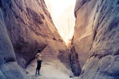 Woman hiking in canyon, Sinai, Egypt Royalty Free Stock Photos