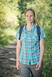 Woman on a Hiking Day Trip Royalty Free Stock Photos