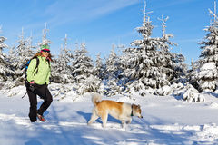 Woman hiking with dog in winter mountains. Woman hiking in winter mountains with akita dog Royalty Free Stock Image