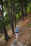 Woman hiking through a forest Royalty Free Stock Photos