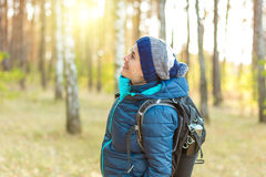 Woman hiking royalty free stock photo
