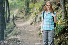 Woman Hiking in a Forest Stock Photography