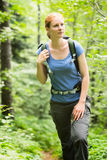 Woman Hiking in a Forest Royalty Free Stock Photo