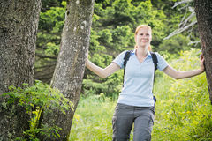 Woman Hiking in a Forest Royalty Free Stock Photography