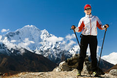Woman hiking in Himalaya Mountains Stock Photos
