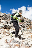 Woman hiking in Himalaya Mountains Stock Images