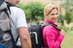 Woman Hiking With Husband Stock Image