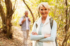 Woman hiking with husband Stock Photos