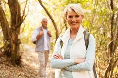 Woman hiking with husband Stock Photos