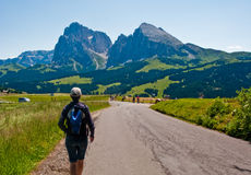 Woman hiking in Italian Alps. Heading towards The Sciliar mountain range. Alpe di Suisi Royalty Free Stock Photos
