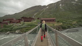 Woman hiking in Jotunheimen National Park, Norway stock video footage