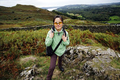 Woman hiking in Lake District Royalty Free Stock Images