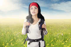 Woman hiking on the meadow Stock Photos