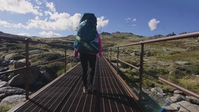 Woman hiking in the mount Kosciuszko stock video footage