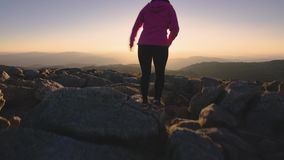 Woman Hiking in the Mount Kosciuszko at Sunset, Adventure Outdoor Active Lifestyle stock footage