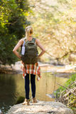 Woman hiking mountain royalty free stock images