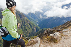 Woman hiking in mountains Royalty Free Stock Image