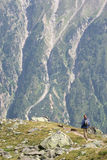 Woman hiking in mountains Royalty Free Stock Photo