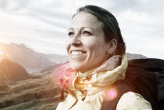 Woman Hiking Mountains New Zealand Concept Royalty Free Stock Image