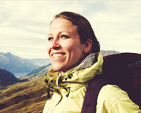 Woman Hiking Mountains New Zealand Concept Royalty Free Stock Photo