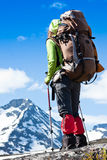 Woman hiking in the mountains Royalty Free Stock Photo