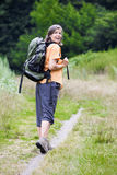 Woman hiking royalty free stock photography