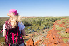 Woman hiking outback Australia Royalty Free Stock Photo