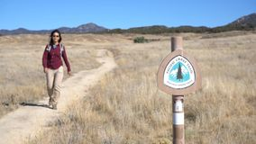 Woman hiking in PCT Trail stock footage