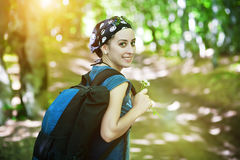 Woman hiking portrait in forest Stock Photo