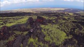 Woman hiking rocky landscape stock footage
