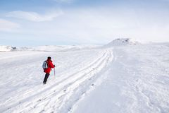 Woman hiking in snow Royalty Free Stock Image