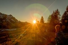 Sunset at Mountain Hike royalty free stock images