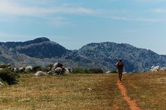 Woman hiking in the Spanish Sierras stock images