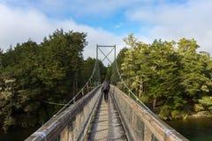 Woman hiking on swing bridge at Kepler track Royalty Free Stock Photos