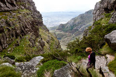 Woman hiking on the table mountain Royalty Free Stock Photography