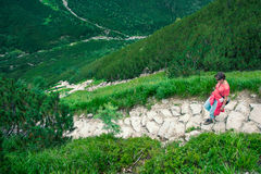 Woman hiking in the Tatra Mountains Stock Photo