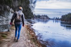 Woman hiking on trail royalty free stock photo