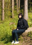 Woman, on hiking trip resting Stock Photos