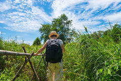 Woman hiking in tropical field Royalty Free Stock Photos