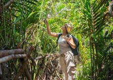 Woman hiking in tropical forest Stock Image