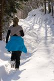 Woman hiking in winter stock images