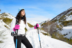 Woman hiking in winter mountain Royalty Free Stock Image