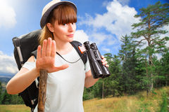 Woman hikking Stock Images