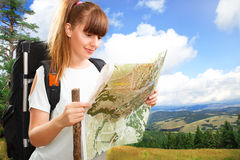Woman hikking Stock Photography