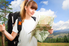 Woman hikking Royalty Free Stock Photo
