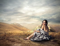 Woman on a hill Royalty Free Stock Image