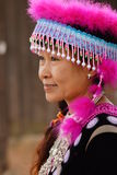 Woman in hill tribe dress. Woman dress in Hmong hill tribe portrait stock images