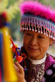 Woman in hill tribe dress. Woman dress in Hmong hill tribe portrait royalty free stock photo